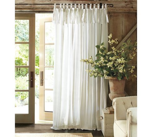 Textured Cotton Tie Top Curtain Valances And Curtains