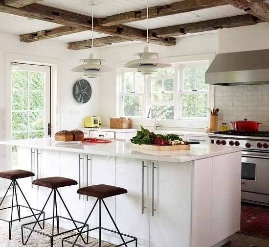 Glossy Green Cabinets Infuse Vitality To This Kitchen: Exposed Beams With Exposed White Wood Ceiling. Also Has
