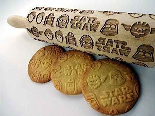 STAR WARS embossing rolling pin. Wooden embossing rolling pin with Star Wars pattern