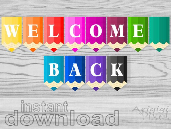 pencils, welcome back printable banner, back to school decorative ...