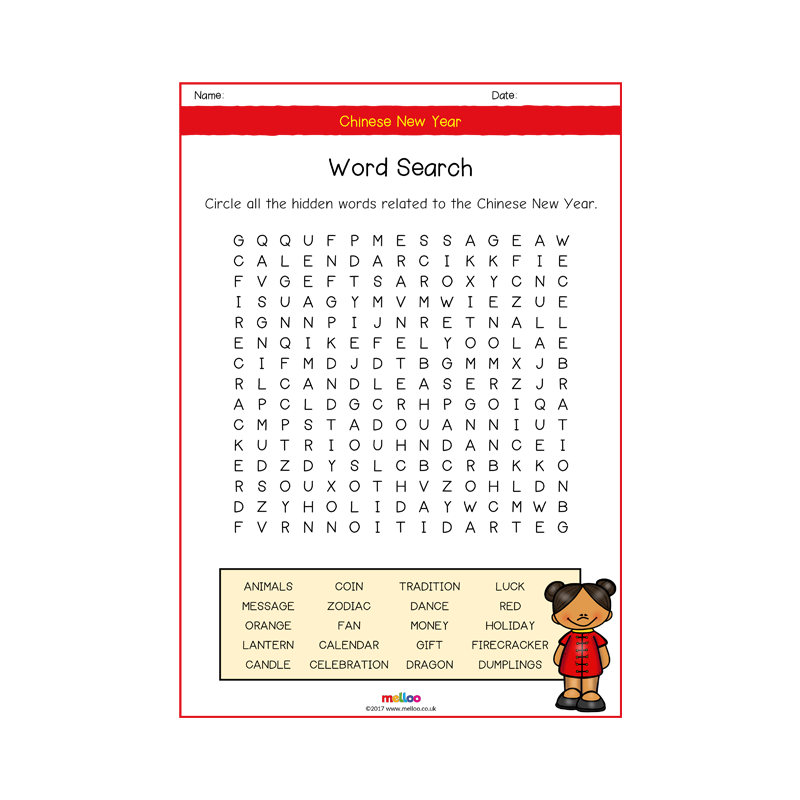 Chinese New Year Word Search New year words, Hidden