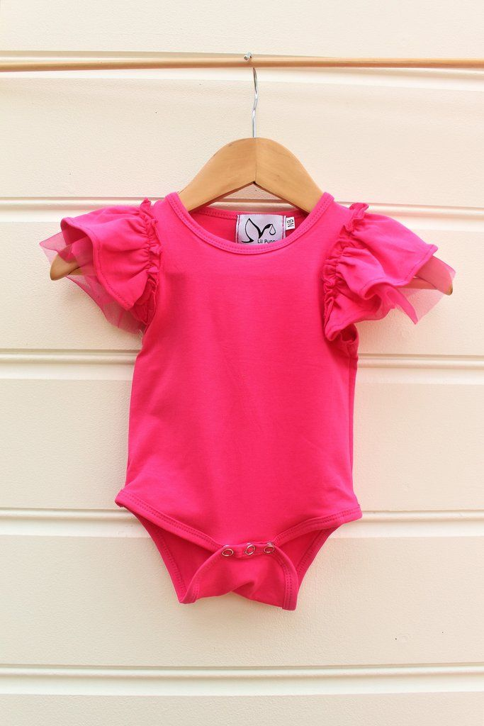 8f15b9f7f91 Gorgeous Tulle Flutter Sleeve Romper Snaps for easy nappy change Made from  Quality Cotton Blend - 95 % Cotton 5% Spandex We recommend to not Iron over  the ...