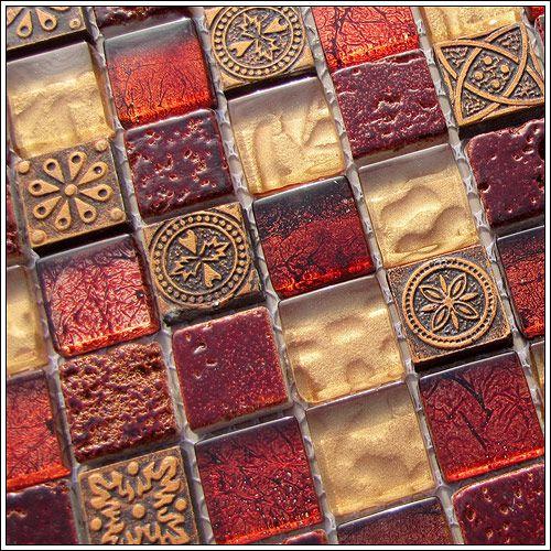 Red Kitchen Backsplash: Stone, Glass, And Stainless Mosaic Tile For The Backsplash