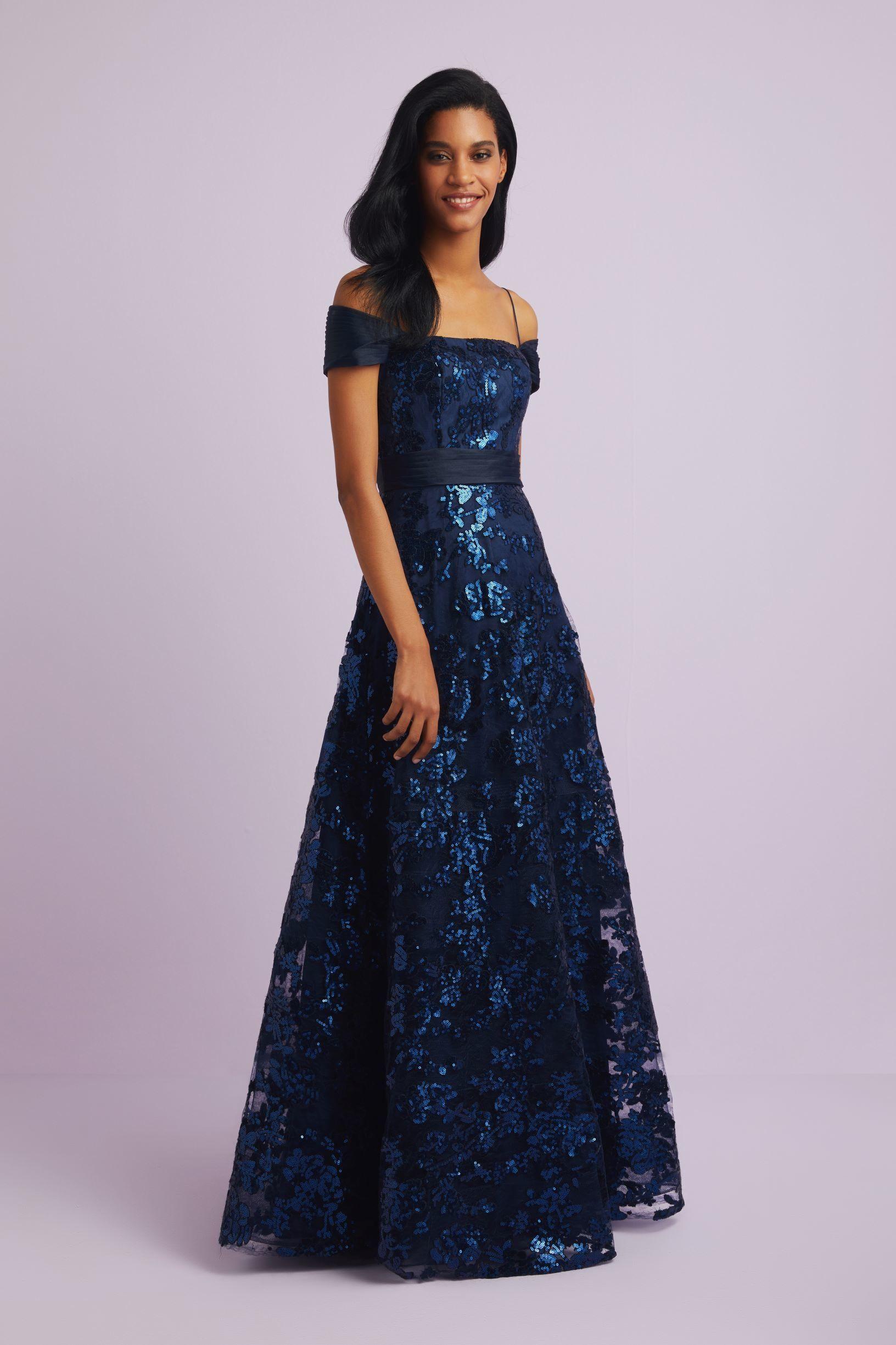 Payet Islemeli Askili Lacivert Abiye Elbise Oleg Cassini 2020 Elbise Balo Elbisesi The Dress