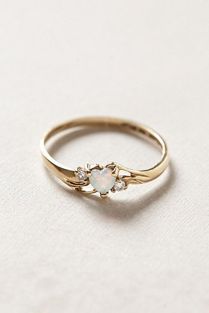 Diamantring herz gold  Vintage Opal Heart Ring