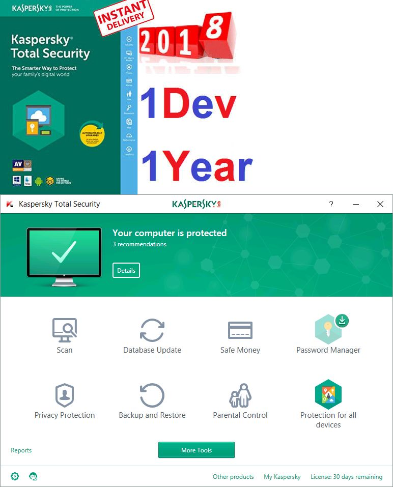Antivirus and Security 175689: Kaspersky Total Security 2018