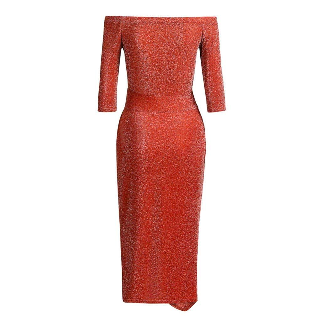 21c3e12291 dumanfs Women Sexy Off Shoulder High Slit Sequins Bodycon Dress ...