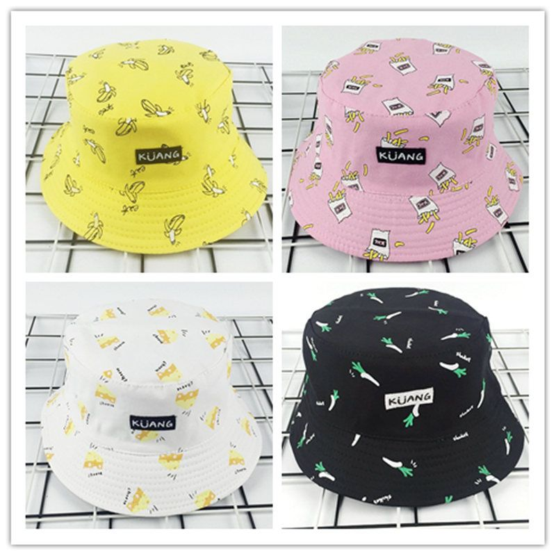 e1e45b13 LDSLYJR 2018 Cotton Fruit printing Bucket Hat Fisherman Hat outdoor travel  hat Sun Cap Hats for