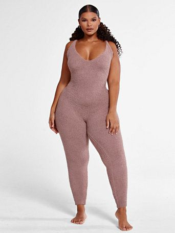 Plus Size The Cuddle Jumpsuit in Taupe   Fashion To Figure   FTF