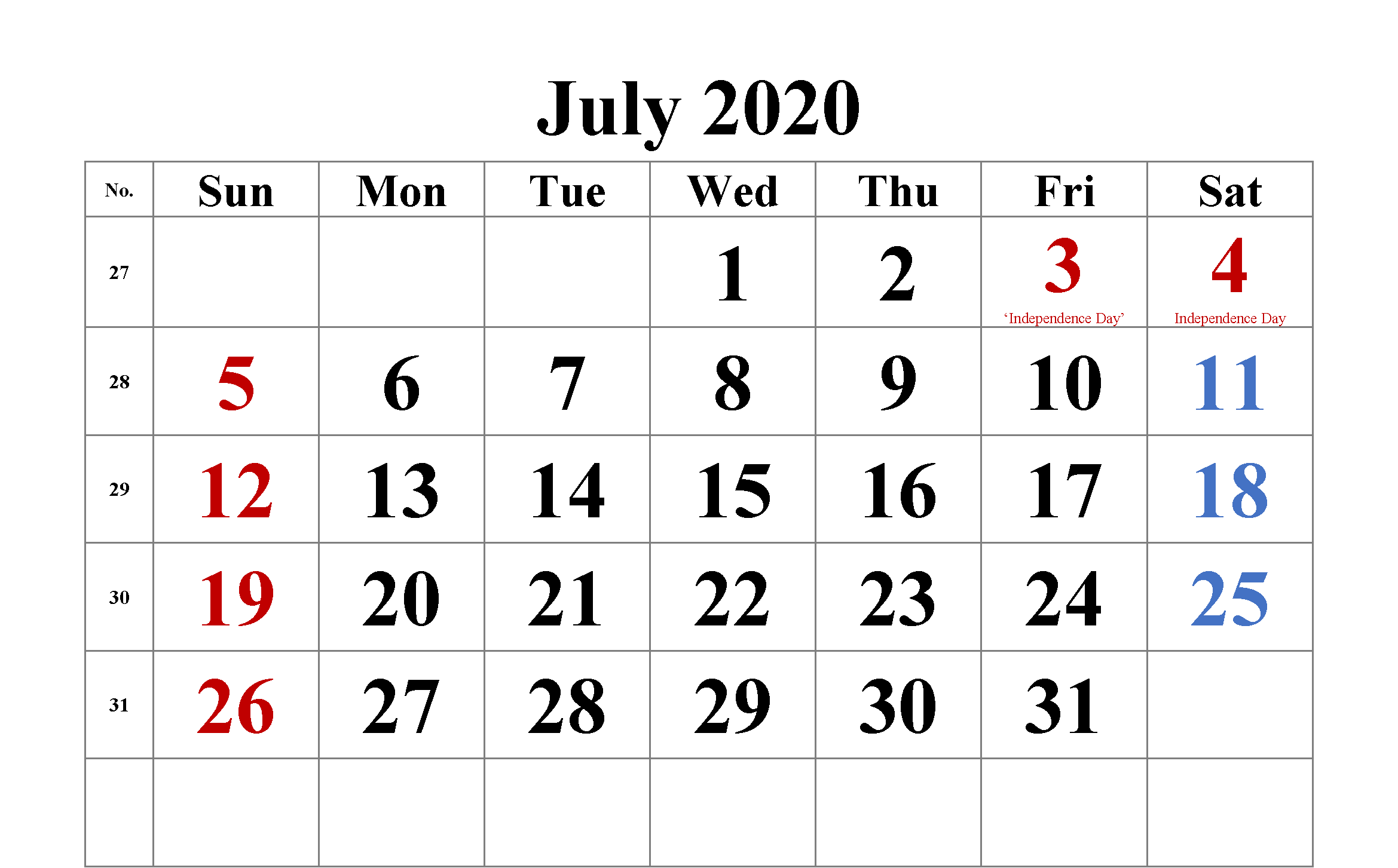 Editable July 2020 Calendar Template Calendar Word Word Template Monthly Calendar Template