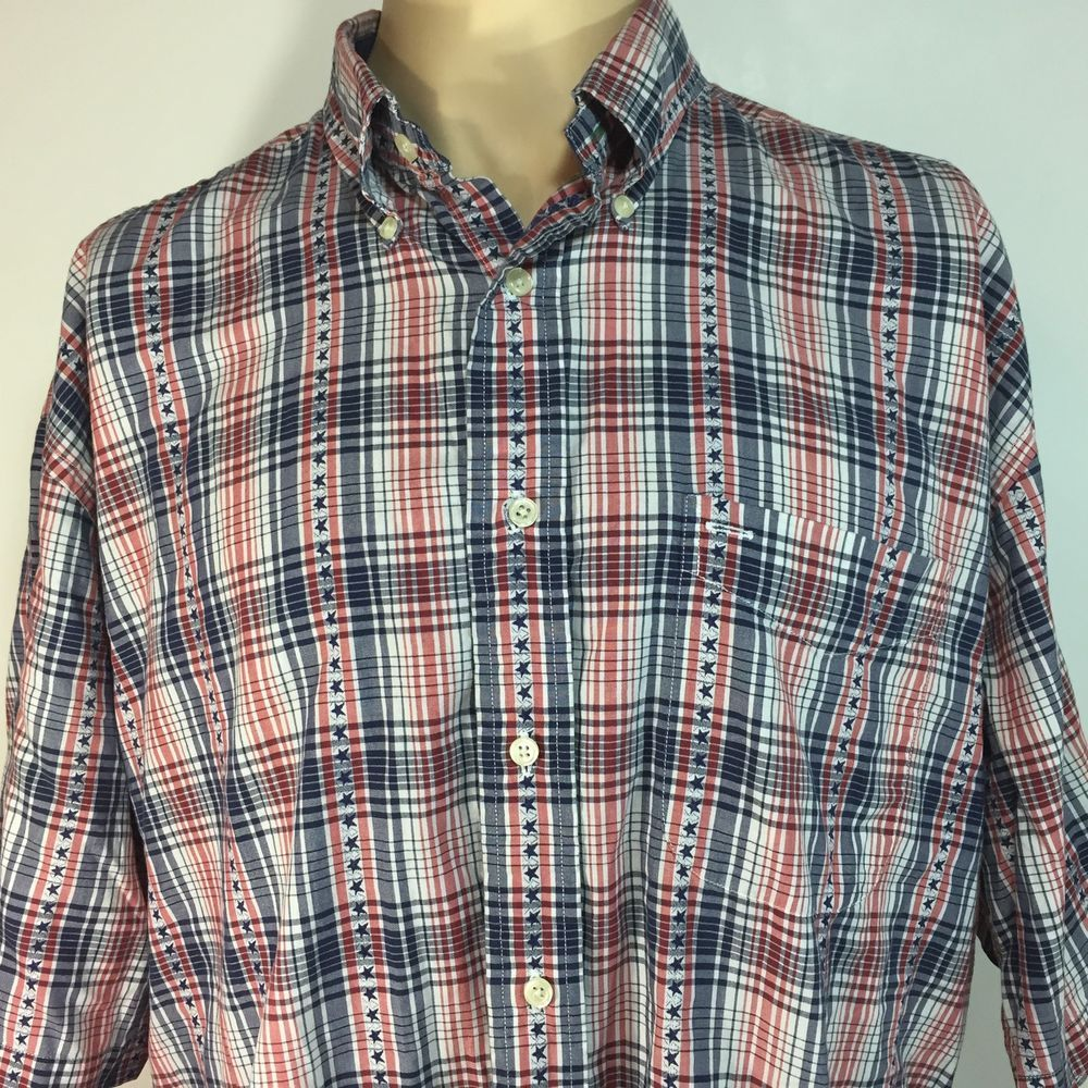 71199e28 Tommy Hilfiger Red White Blue Stars Check Button Front Shirt XL July 4 # TommyHilfiger