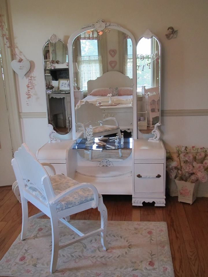 This Stunning Vintage Vanity Is A Rare Gem With Its Etched Mirrors Unique Blue Gl Shelf And Beautiful Embellishments The Elegant Chair Lovely