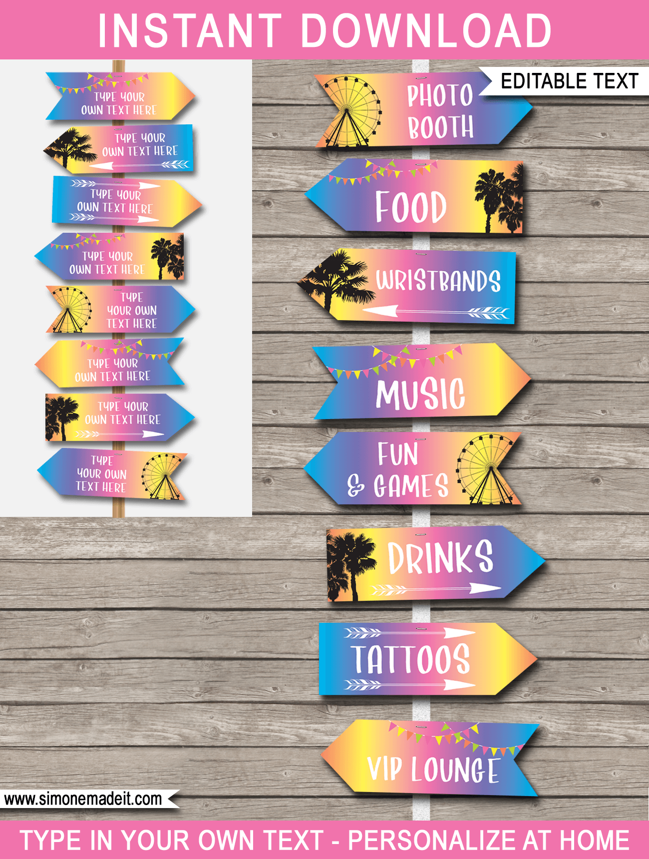 Printable Coachella Party Signs Direction Arrows Themed Decorations Birthday