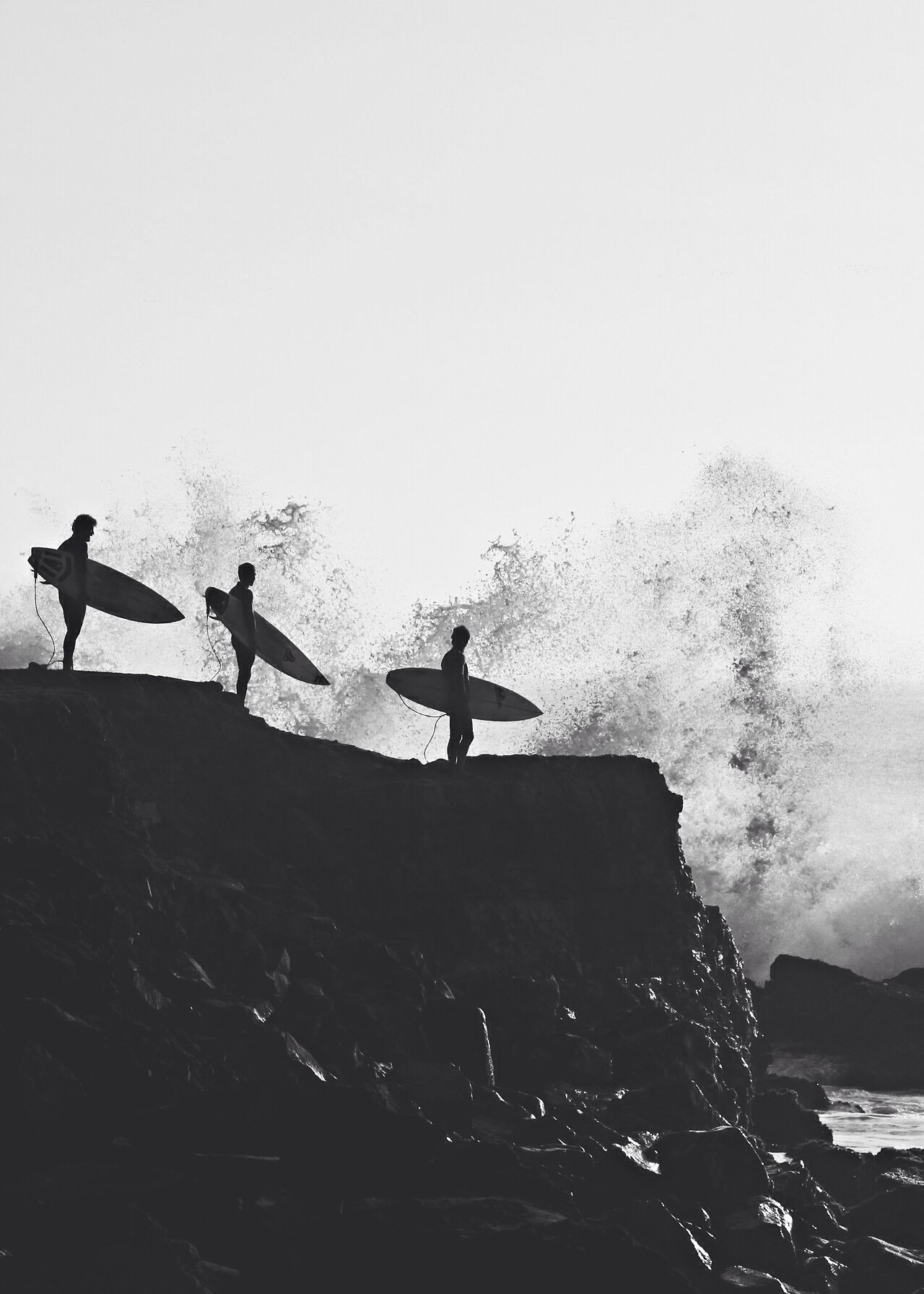 Three surfers on cliff black and white photography art ✧✧ b