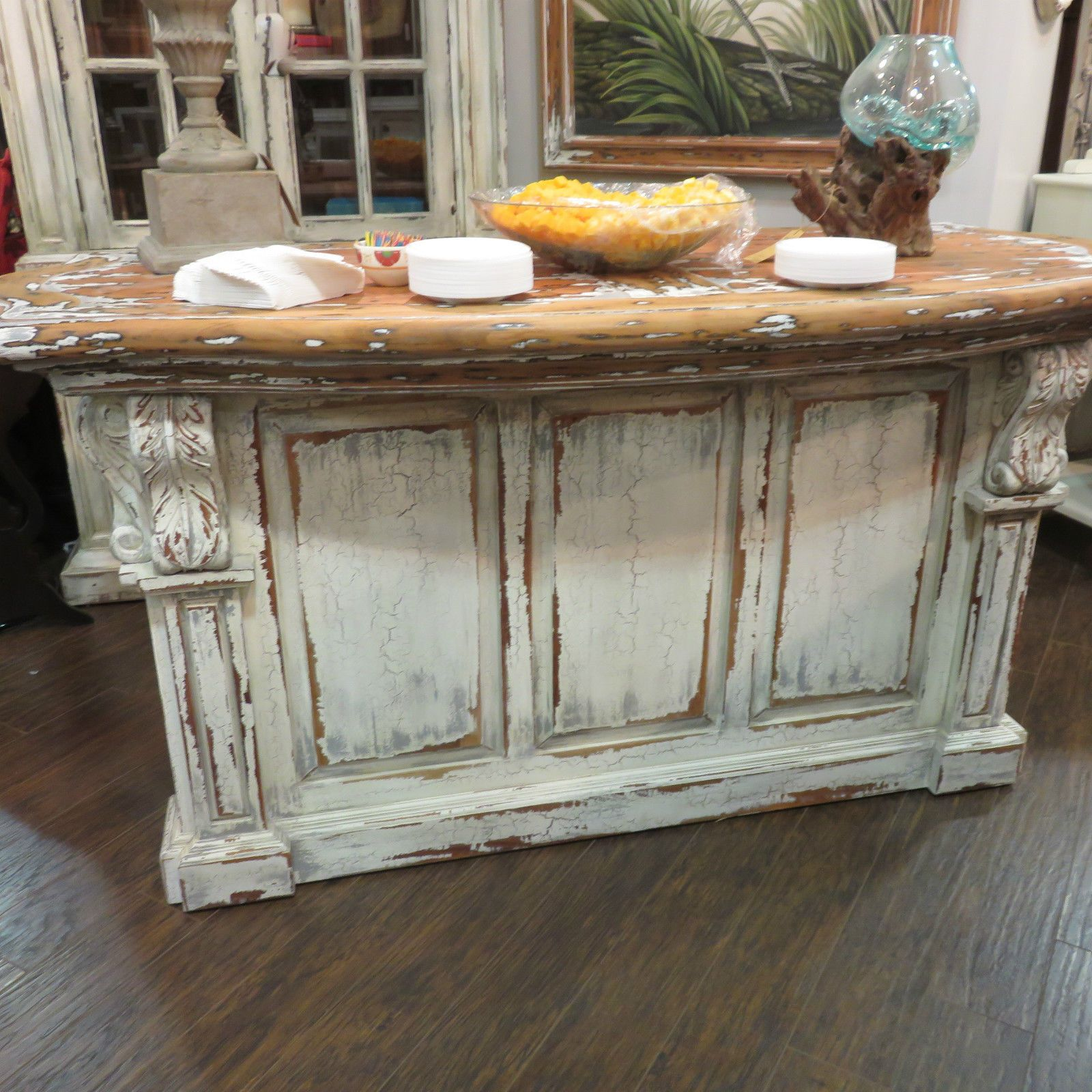 Distressed French Country Kitchen Island Bar Counter Majestic Fog Corbels