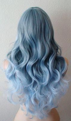 Pastel Blue Ombre wig. long curly blue wig with si