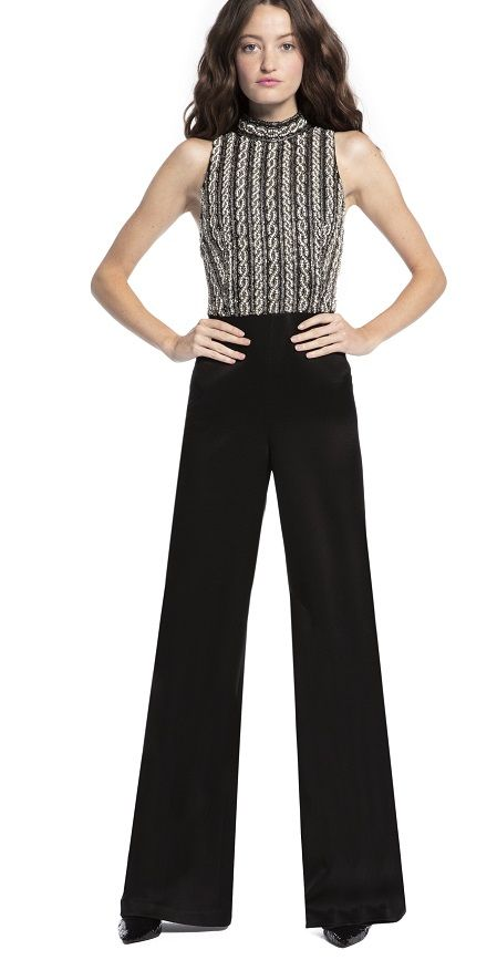 f3f3795905e1 Black Wide Leg Jumpsuit for Women - A black jumpsuit bodice with crystals  that are hand-applied. The high neckline and fitted bodice are so chic