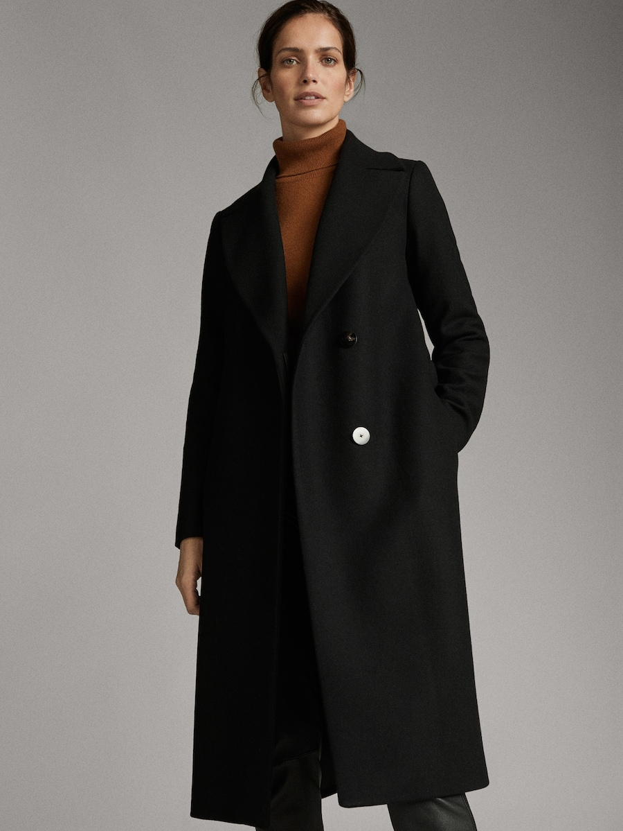 Long Black Wool Coat 329 00 Abrigos Lana Negra Abrigos Negros
