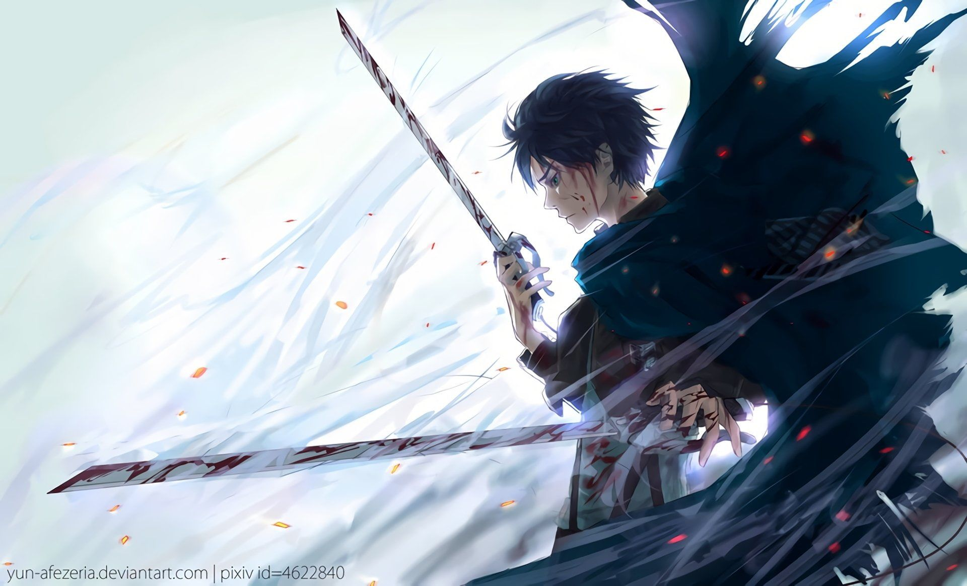 Black Haired Male Anime Character Holding Two Swords Illustratio Anime Attack On Titan Attack On Titan Eren Yeager Shin In 2021 Anime Attack On Titan Anime Characters