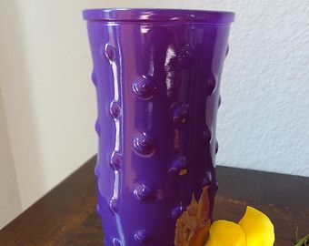 Rare Vintage Hobnail Purple Milk Glass Flower Vase Hoosier Glass Purple Glass (G386C)