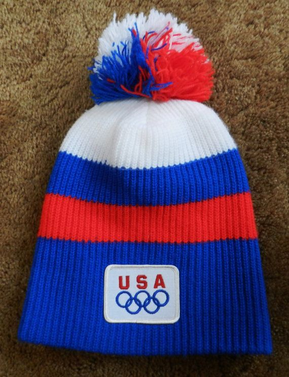 vintage 80s USA Olympics Stocking Hat beanie American knit cap sewn patch  Red White   Blue MINT f01abed8798