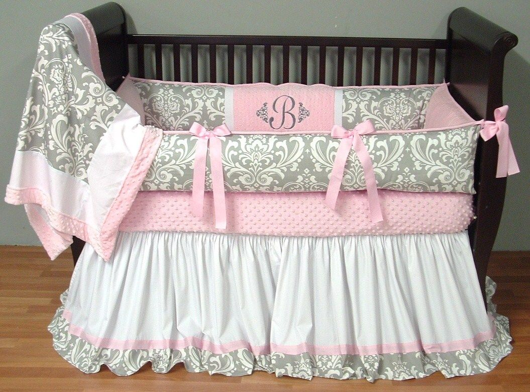 Light blue bedding for girls - Brooklyn Silver Damask Bedding This Custom 3 Pc Baby Crib Bedding Set Includes A Luxury Plush