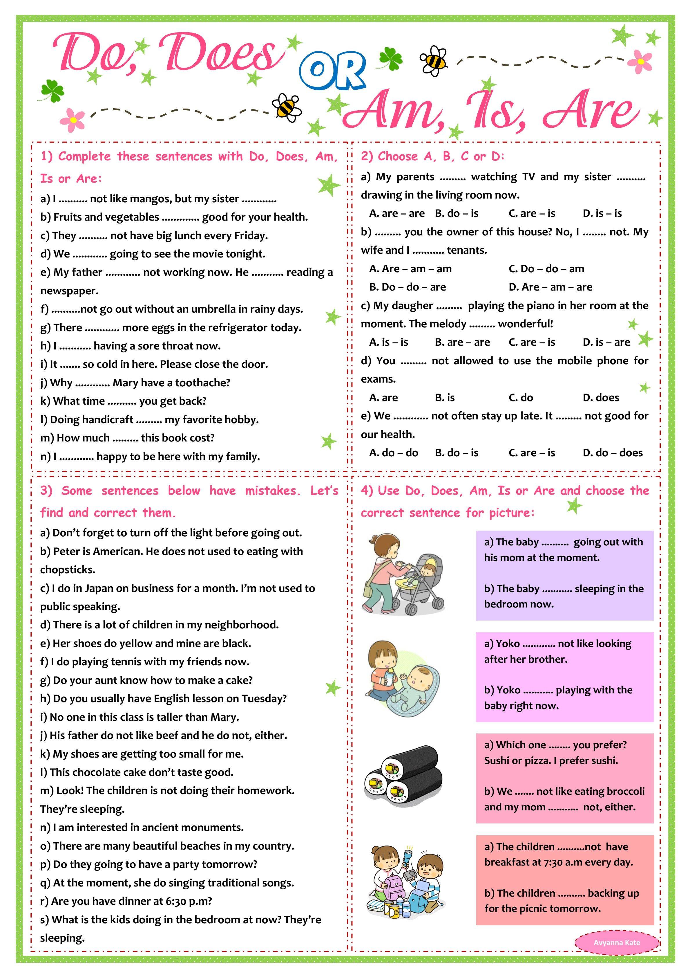 Do Does Or Am Is Are Worksheet English P3 By Avyanna