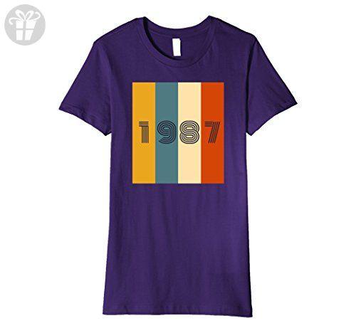 Womens 30th Birthday Gift Vintage T-Shirt. Born in 1987 Retro Shirt XL Purple - Birthday shirts (*Amazon Partner-Link)