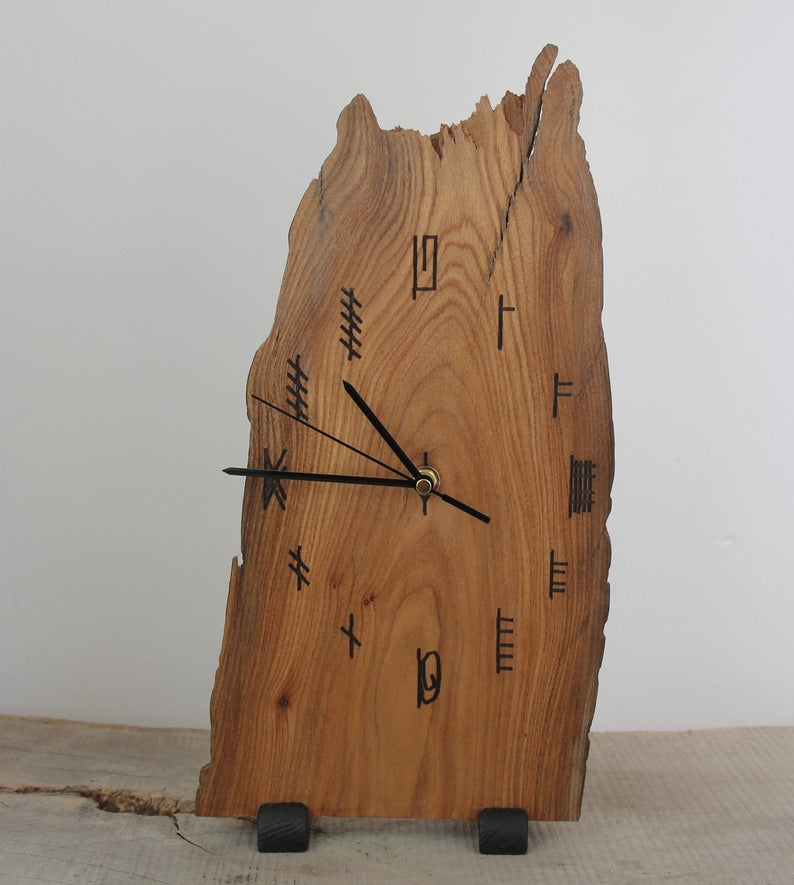 Ogham Clock, 5th Anniversary Gift, Table Clock, Rustic
