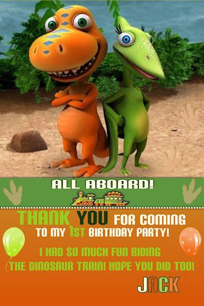 Customized Printable Dinosaur Train Thank You Card Kids Birthday