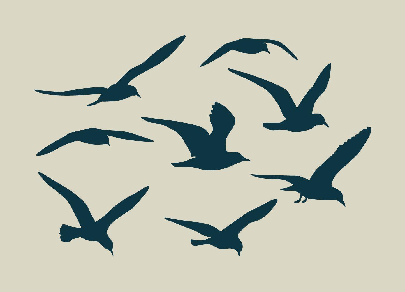 Pochoir en vinyle adh sif vol de mouettes ref 92 for Pochoir oiseau