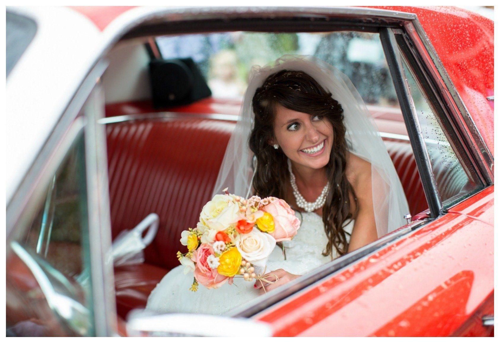 Red Mustang Wedding Car