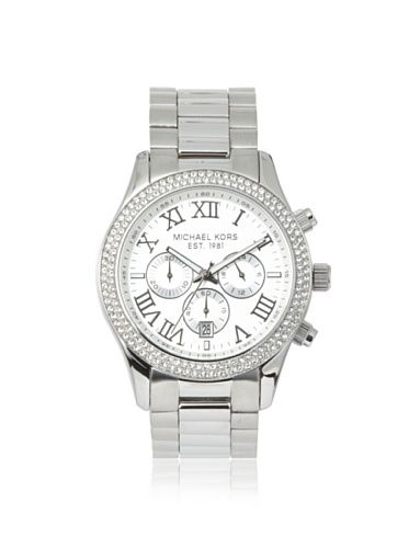 OFF Michael Kors Women\u0027s Layton Silver White Stainless Steel Watch - Click  pics for best price