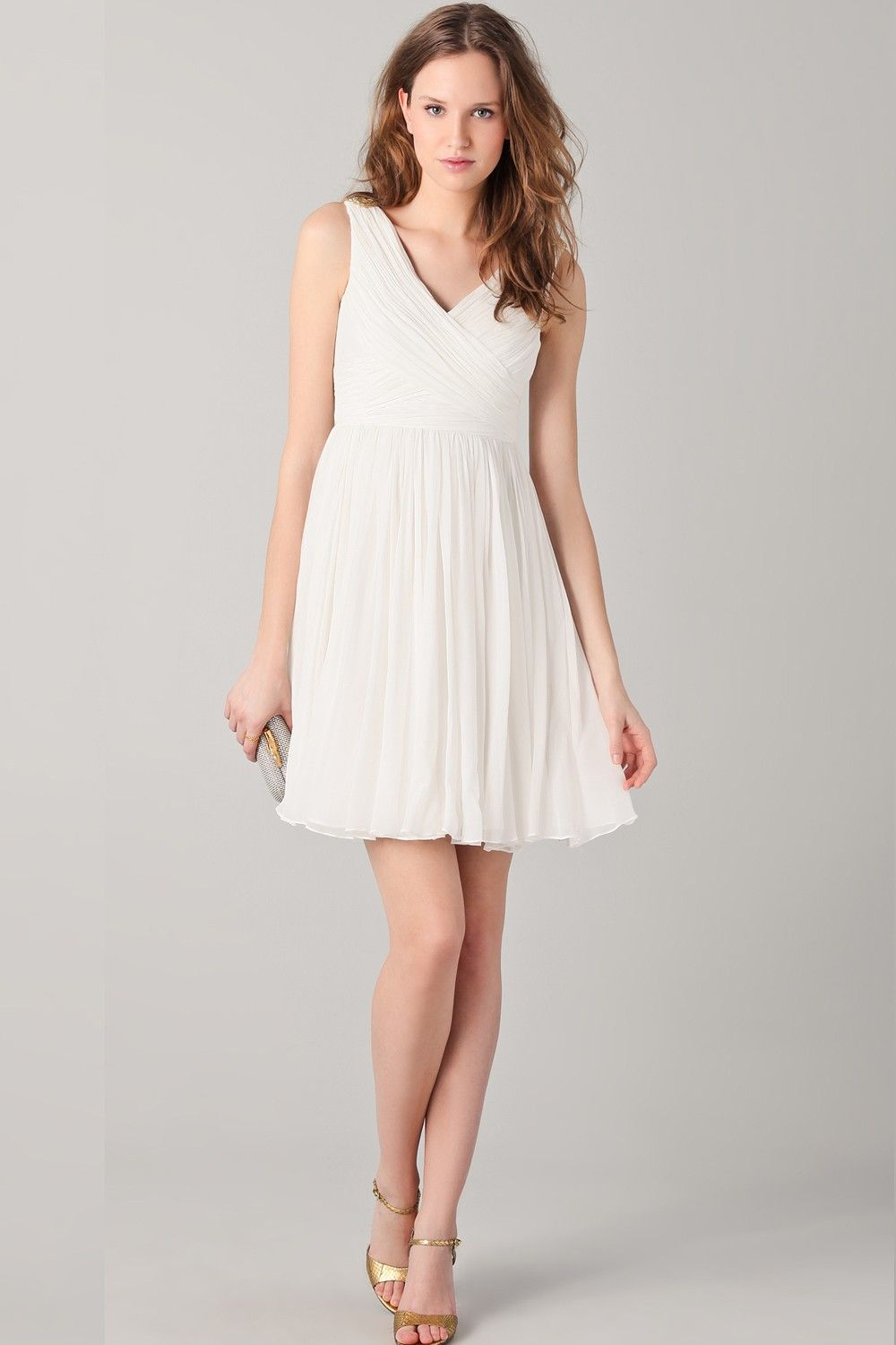 aaef3771362861 V Neck White Short Chiffon Dress With Beaded Shoulders | My Fashion ...