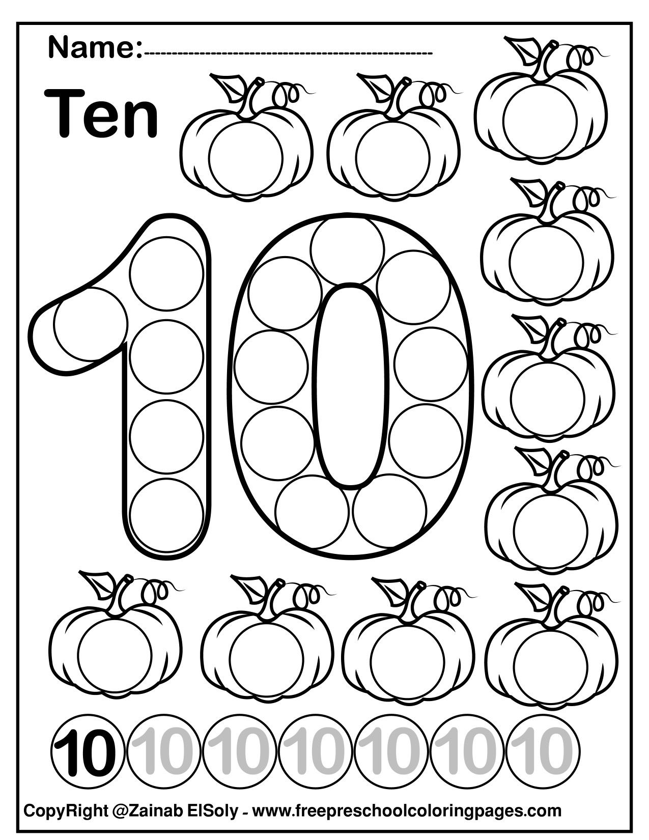 Number 10 Ten Do A Dot Marker Activity Activity Pumpkins