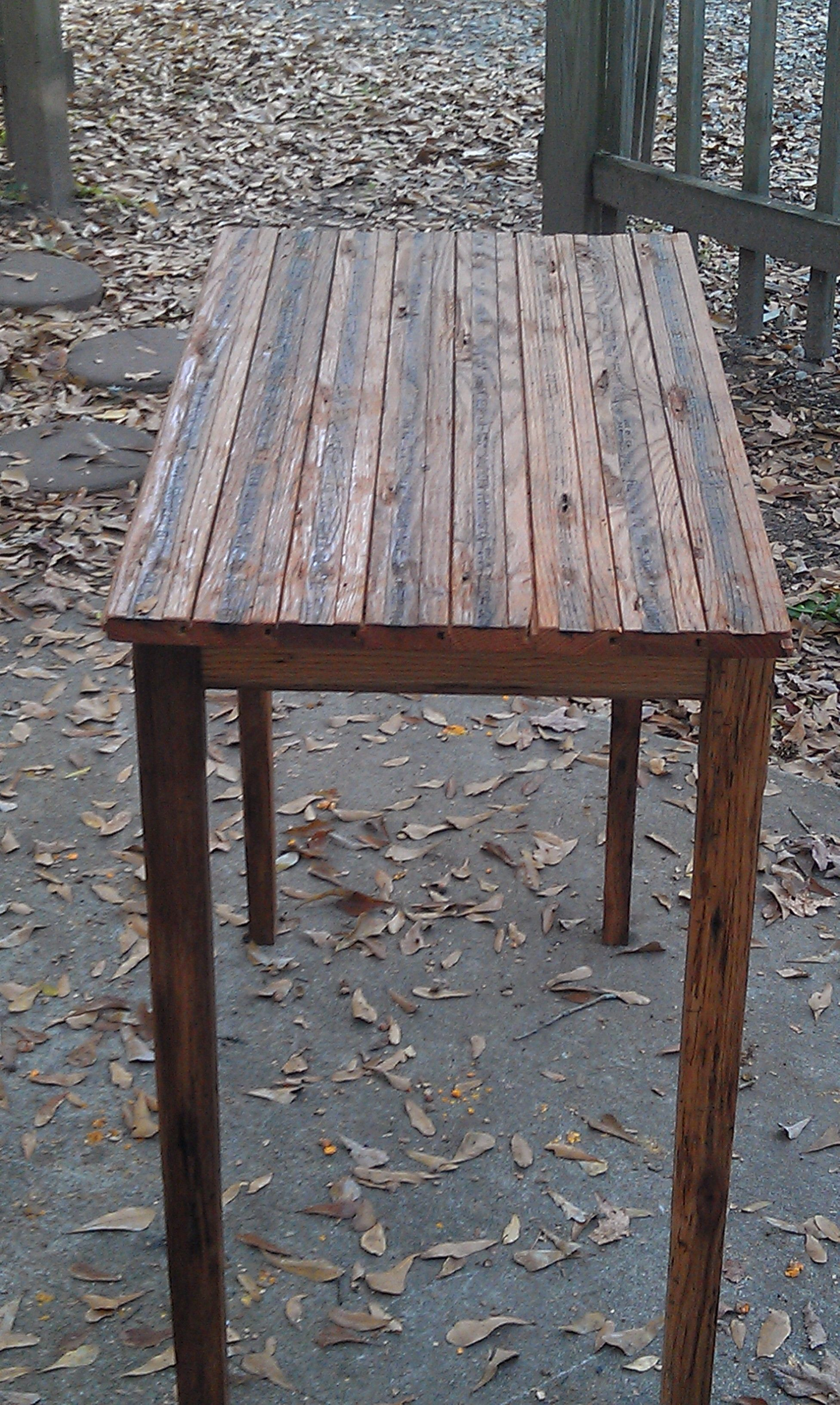 18 X 36 Table Base From Reclaimed Barn Wood Top From Antique Tongue And Groove Oak Flooring Finish Of Linseed Oil And Ora Reclaimed Barn Wood Barn Wood Wood