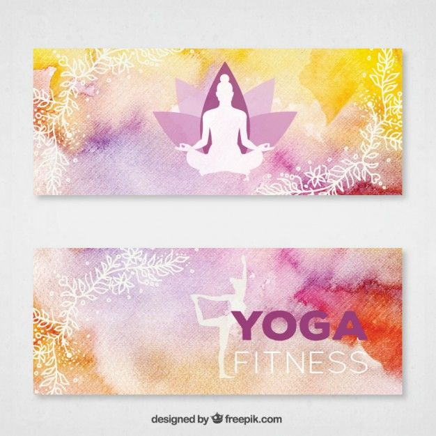 Download Hand Painted Yoga Banners With White Silhouettes For Free Banner Hand Painted Yoga