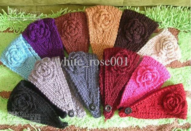 Hot Handmade Knit Crochet Wide Headband Flower New 11519