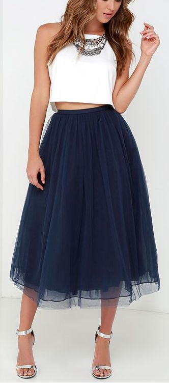 5450a5ef71f567 Give it a Twirl Navy Blue Tulle Midi Skirt in 2019 | DOLL | Fashion ...