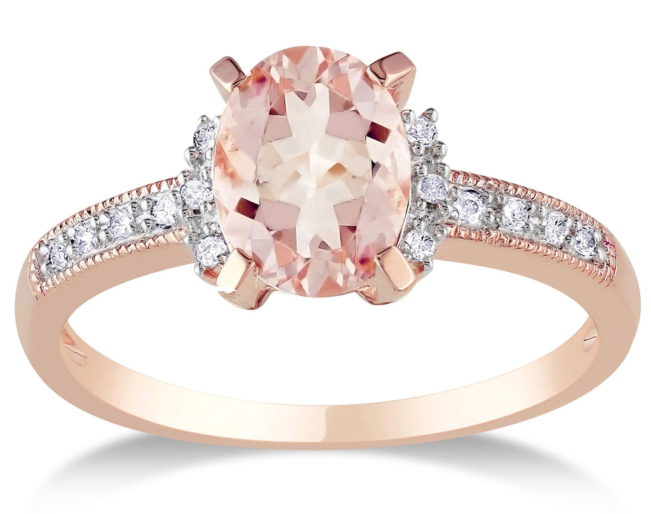 Vintage Rose Gold Diamond Rings Women Home Engagement Multistone 1