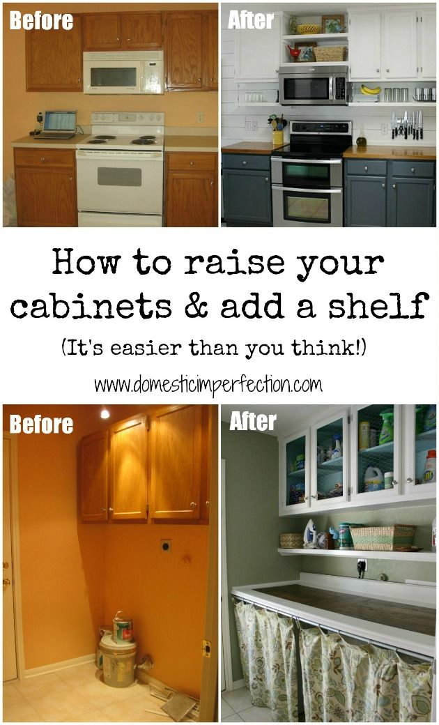 How to raise your cabinets add a shelf budgeting for Adding drawers to existing kitchen cabinets