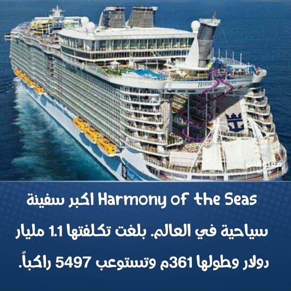 هل تعلم معلومات معلومة سفينة سياحة Harmony Of The Seas Boat Sea