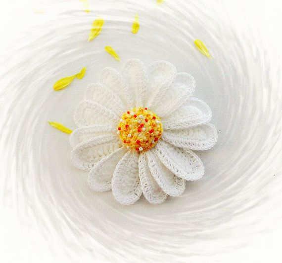 Crochet Daisy Flower Brooch - Crochet Marguerite - Yellow Daisy ...