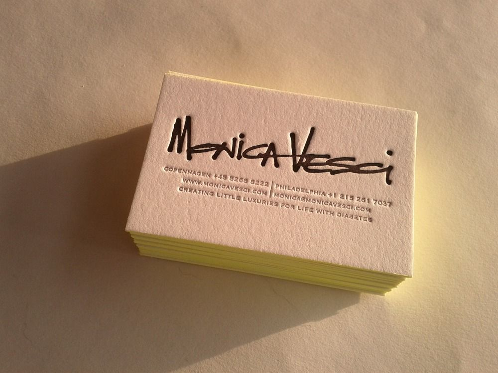 Neon Edge Painted Letterpress Business Cards /// set of 100 Made to ...
