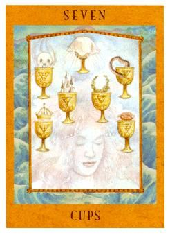 February 16 Tarot Card Seven of Cups (Goddess deck) There's a stark contrast between your wishes and reality now. Pull th… | Tarot. Tarot decks ...