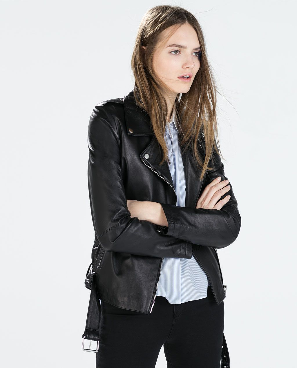 BIKER JACKET + BUTTON DOWN Leather biker jacket, Zara