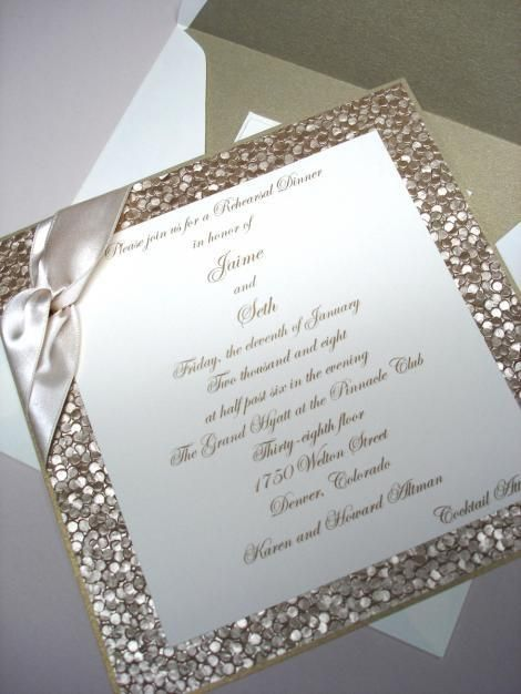 Gold Glitter Wedding Invitation Perfect for a New Years Eve