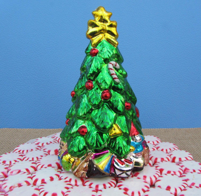 Vintage Christmas Candle Metallic Tree Retro Sculpted Design Shiny ...