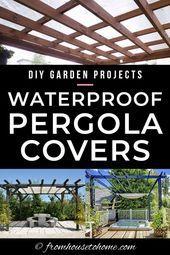 DIY Waterproof Pergola Cover Ideas: 7 Ways To Protect Your Patio From Sun and Rain #Cover #DIY #gardening #Home #House #Ideas #Patio #Pergola #Pergola diy #Pergola modern #Pergola screen #Pergola wall #Protect #Rain #Sun #Ways #pergolapatio