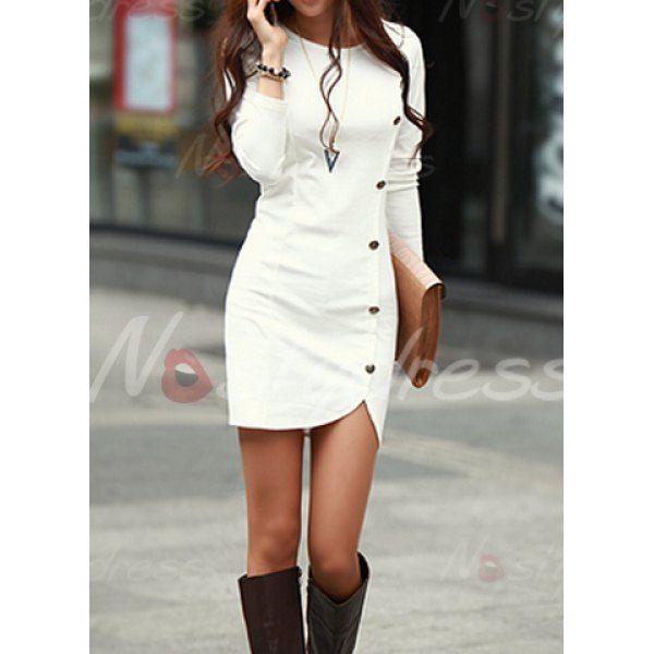0c15e9c04a Buttons Design Long Sleeve Round Neck Pullover Women s Dress
